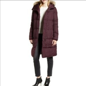 Rachel Parcell NWOT Hooded Grape Red Puffer Coat L